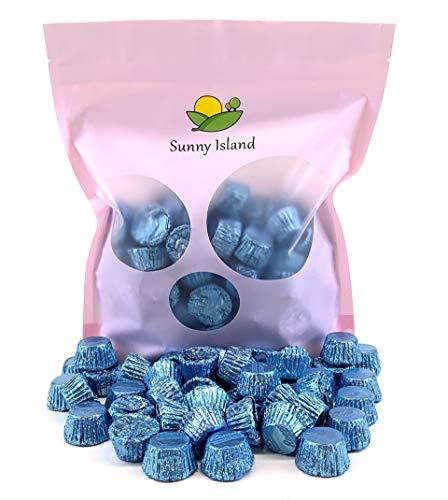 Sunny Island Bulk - Reese's Miniatures Peanut Butter Cup Milk Chocolate Candy Light Blue Foil Wrap, 2 Pounds Bag - Foil Wrapped Peanut