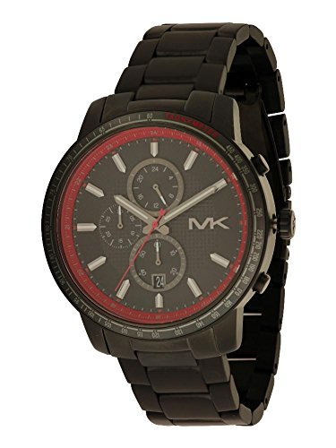 Michael Kors Granger Chronograph Black and Red Dial Gunmetal Ion-plated Mens Watch MK8363