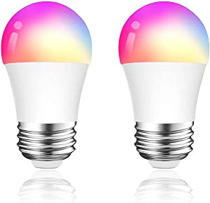 Luntak Smart Light Bulb Works with Alexa Google Home, RGB Color Changing Dimmable A15 E26 LED Bulb Small Light Bulbs for Light Fixture Ceiling Fan Chandelier 500 Lumens 40 w Equivalent(Pack of 2)