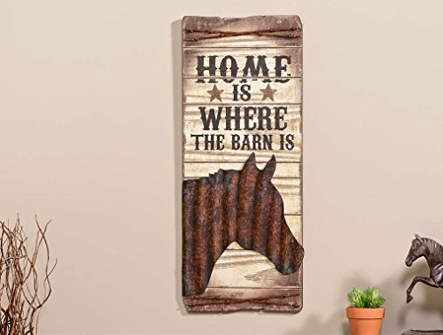 "Giftcraft 24"" Western Sign with Horse Design and Message ""Home is Where the Barn Is"""