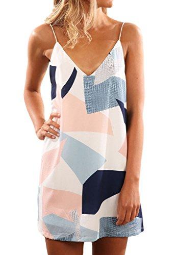 Shawhuwa Womens Sexy Print Summer Beach Boho Straps Short Dress S Geometric