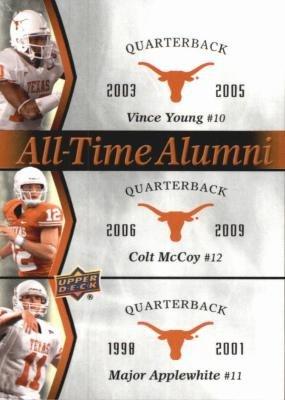 - Vince Young, Colt McCoy & Major Applewhite football card (Texas Longhorns) 2011 Upper Deck All Time Alumni #ATAD-YMA
