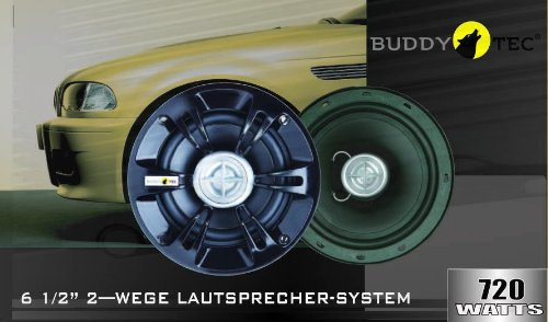 2-Wege-Einbaulautsprecher-165 mm DIN Einbaumass - 720 Watt BUDDYTEC
