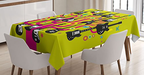 Ambesonne Music Tablecloth, Guitars for Rock Stars Above a Tree Plant Modern Geometric Design Print, Dining Room Kitchen Rectangular Table Cover, 52 W X 70 L inches, Hot Pink Apple Green