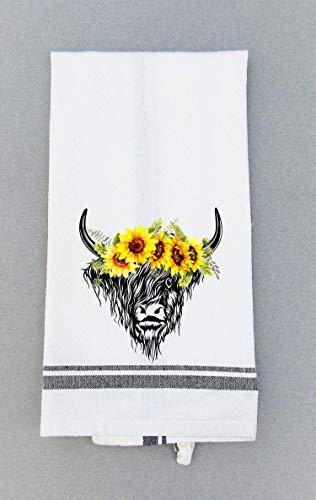 - Kitchen Tea Towel - Cow and Sunflower Print Dish Towel - Hand Towel