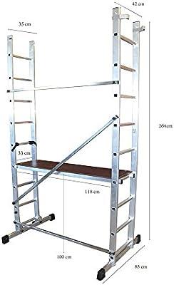ALTIPESA Escalera andamio Profesional de Aluminio 2x9 pelda/ños Multiusos