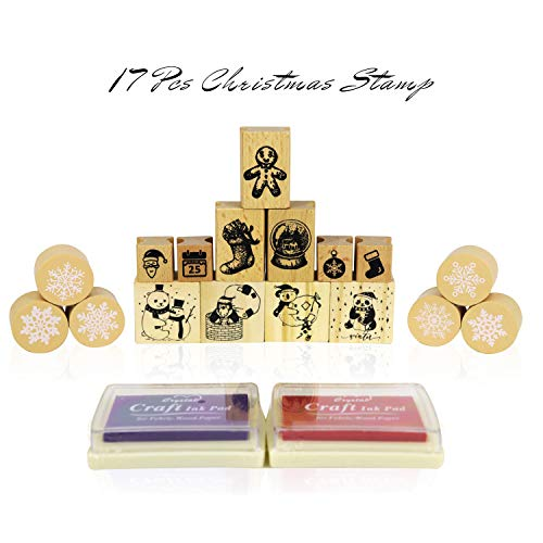 Wooden Christmas Stamp Rubber Toy Set,17 Pcs Wooden Stamp Set,Santa Claus, Snowman, Christmas Tree Stamps for Letter Card- Fun Gift, Party Favors, Party Toys, Goody Bag Favors