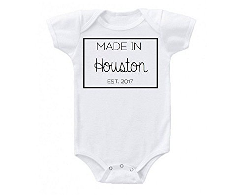 Promini Made in Houston Texas Babe Cute Funny Baby Onesie Gift Novelty Tshirt Costume Babies Bodysuit White -