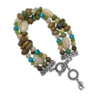 Sterling Silver Multi-Gemstone Triple-Strand Beaded Bracelet by Relios
