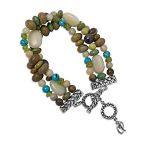 Sterling Silver Multi-Gemstone Triple-Strand Beaded Bracelet by Relios