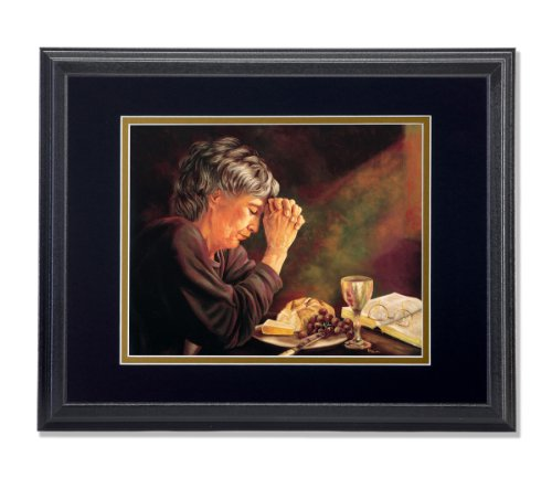 Gratitude Lady Praying at Dinner Table Daily Bread Grace Religious Wall Picture B/G Matted 13x16 Framed Art Print