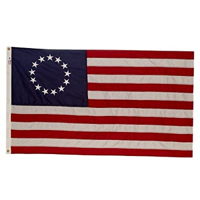 Valley Forge, American Flag, Nylon PERMA-NYL, 3' x 5', 100% Made in USA, Betsy Ross 13-Star Colonial US Flag, Sewn Stripes, Embroirdered Stars