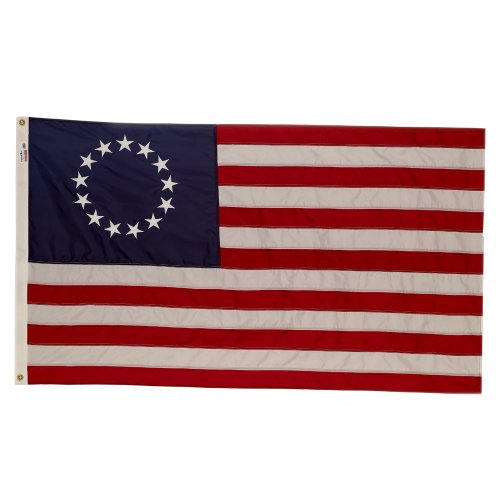 Valley Forge, American Flag, Nylon Perma-NYL, 3' x 5', 100% Made in USA, Betsy Ross 13-Star Colonial US Flag, Sewn Stripes, Embroirdered Stars ()