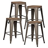Poly and Bark Trattoria 24' Counter Height Industrial Bar Stool with Elmwood Seat, Stackable, Bronze (Set of 4)