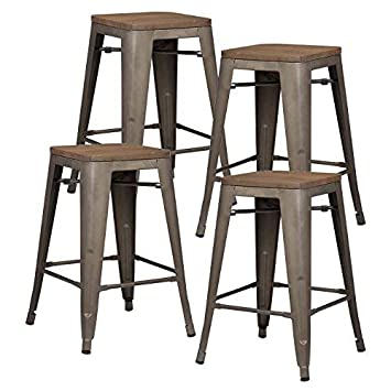 Poly and Bark Trattoria 24 Counter Height Stool with Elmwood Seat in Bronze Set of 4