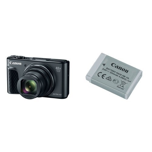 Canon PowerShot SX730 Digital Camera w/40x Optical Zoom & 3 Inch Tilt LCD (Black) with Canon Battery Pack by Canon