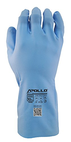 Apollo Performance Chemical Resistant Gloves 2032, Soft Nitrile Exterior, Unlined 15 mil Glove, Featuring Quick Response System and Instant QR Code Access, 1 Pair, Medium, Blue (Medium Ringers Gloves)