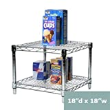 """18"""" d x 18"""" w Chrome Wire Shelving with 2 Shelves"""