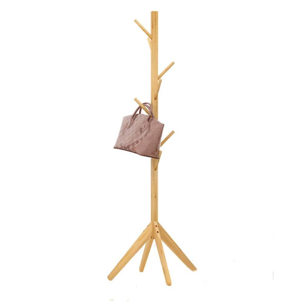 Natural Wooden Coat Rack Coat Tree Hat Hanger Bedroom Home Living Room Hanger Simple Single Rod Assembly Hanger,Natural
