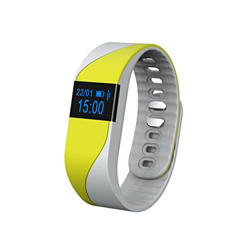 Motion Bracelet Waterproof Bluetooth Intelligent Men and Women Sleep Monitor Pedometer Watch , yellow by GJX