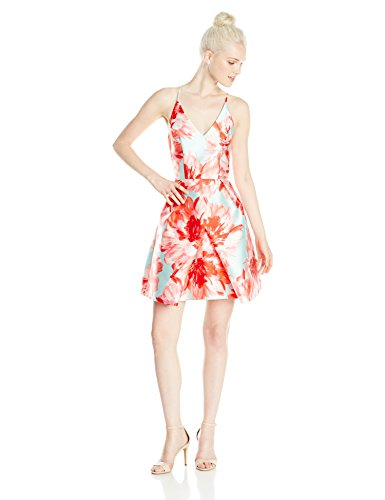 A. Byer Women's Printed Fit and Flare Dress with Envelope Skirt, Coral ()