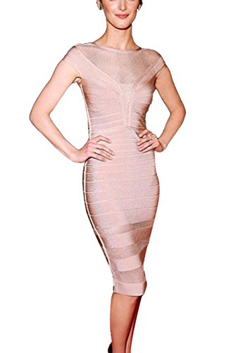 Bodycon rayón FARINA® Bandage Vestido Vendaje Mujer Dress Ajustado Bandage sin para 56018rosa Vestidos Vestido Mangas qZ4rfZnt