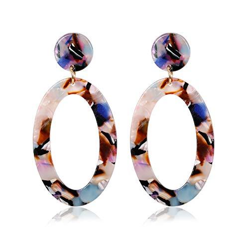 Adramata Acrylic Hoop Dangle Earrings for Women Girls Bohemian Statement Resin Earring Jewelry ()