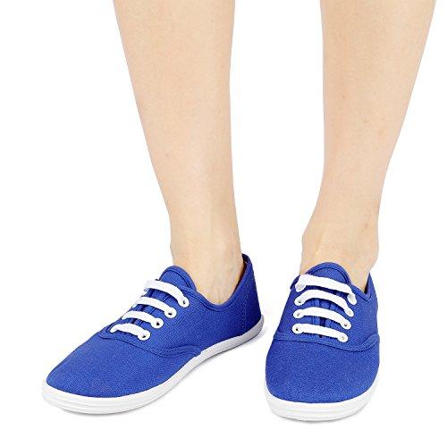 Colores Azul de Las Atan Zapatillas Atléticos 8 Básicos Tenis de Odema Mujeres de Deporte Disponibles para Zapatos Lona Arriba de CTZqHwAq
