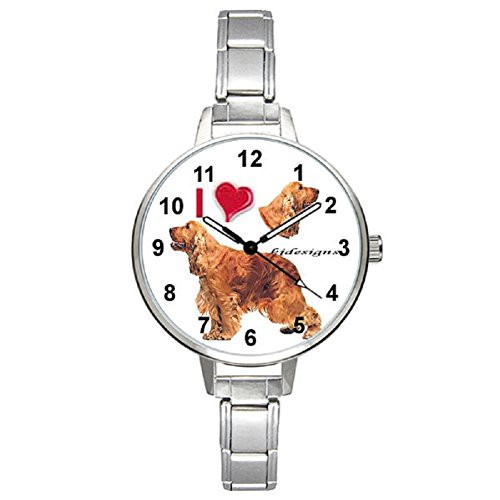 I Love Cocker Spaniel Ladies Stainless Steel Italian Charms Bracelet Watch ()