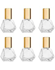 5ml(1/6oz) Shaped Glass Roller Bottle For Essential Oils,Mini Glass Bottles With Stainless Steel Roller Balls,Gold Aluminum Caps Portable Roll-On Vial Aromatherapy Perfume Container-Pack of 6