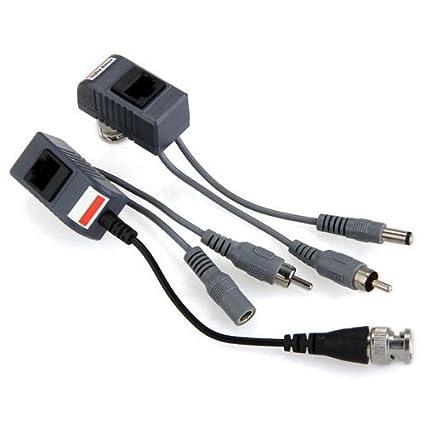 SODIAL(R) 2 x Transceptor CAT5 con cable coaxial BNC RJ45 para DVR de