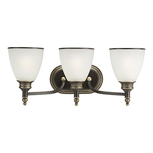 (Sea Gull Lighting 44351-708 Laurel Leaf Three-Light Bath or Wall Light Fixture with Etched Ripple Glass Shades, Estate Bronze)