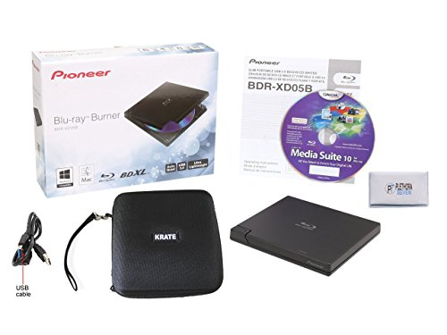 Case Protective Bonus (Pioneer BDR-XD05B 6x Slim Portable USB 3.0 Blu-Ray Burner (Black) - Supports BDXL/BD/DVD/CD - Bonus CyberLink Media Suite 10 Windows Software, Protective Carrying Case & Microfiber Disc Cleaning Cloth)