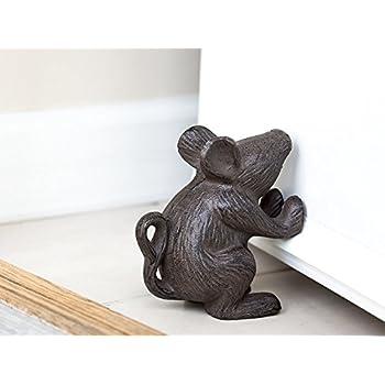 Cast Iron Mouse Door Stop - Decorative Rustic Door Stop - Stop your bedroom, bath and exeterior doors in style - Vintage Brown Color
