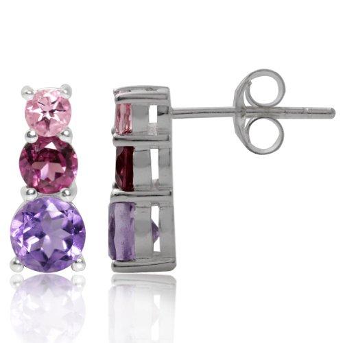 3-Stone Natural Amethyst, Rhodolite Garnet & Pink Tourmaline 925 Sterling Silver Earrings