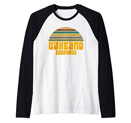 BACK TO SCHOOL VINTAGE 70s 80s STYLE OAKLAND CA Distressed  Raglan Baseball Tee