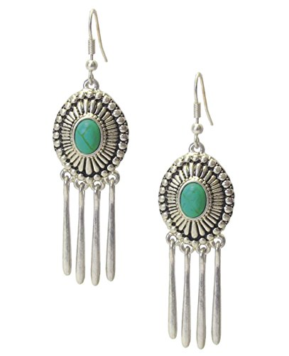 Southwest Look Embossed Silver-Tone & Crackle Teal Faux-Stone Oval & Dangle Bar Fringe Earrings 2 3/4""