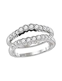 FB Jewels 14kt White Gold Womens Round Diamond Ring Guard Wrap Solitaire Enhancer Wedding Band 1/2 Cttw (I1-I2 clarity; H-I color)