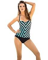 Slimming Stripes One-Piece Bathing Suit- Leonisa