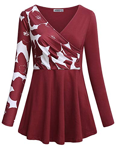 (MOQIVGI Wrap Top,Ladies Designer Boutique Empire Waist Contrast Rouched Shirt Color Block Floral Pattern Patchwork Aline Swing Tunics Womens Chic Loose Fitting Trapeze Work Blouses Red Medium)