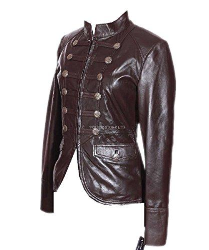 militaire cuir en courte Veste d'agneau Mesdames v femme marron Scarlett a0xT4tT