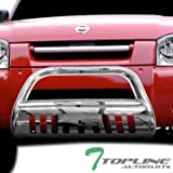 Topline Autopart Stainless Steel Chrome HD Heavyduty Bull Bar Brush Push Front Bumper Grill Grille Guard w/ Skin Plate V2 01-04 Nissan Frontier