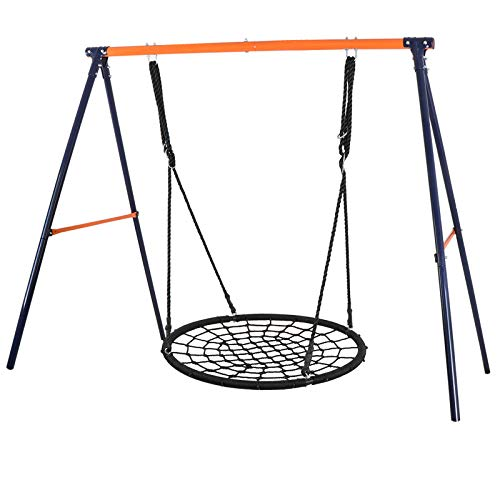 Spider Frame Mount - ZENY 40'' Kids Spider Web Tree Net Swing Round Spider Net Swing Platform Set with Adjustable Hanging Ropes Kits,Strong to Hold 600 lbs,Great for Tree,Playground,Playroom,Backyard (40'' Swing + Frame)