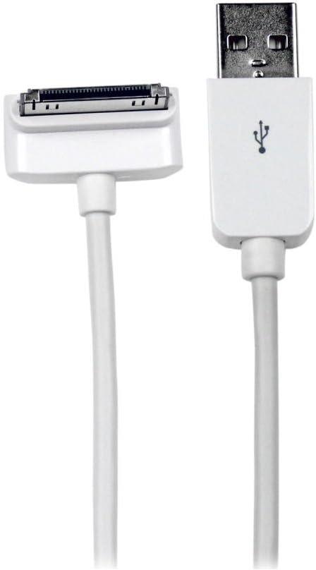 USB2ADC1MD Cable Cargador Conector 30 Pines acodado hacia Abajo, de Apple a USB 2.0, Blanco