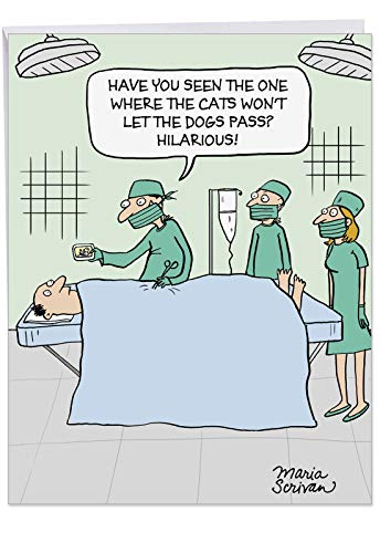 Surgeon on YouTube' Funny Get Well Soon Greeting Card with Envelope 8.5 x 11 Inch - Patient Undergoing Surgery, Doctor Watching Videos on Mobile Phone - Personalized Stationery Set for Recovery J9669
