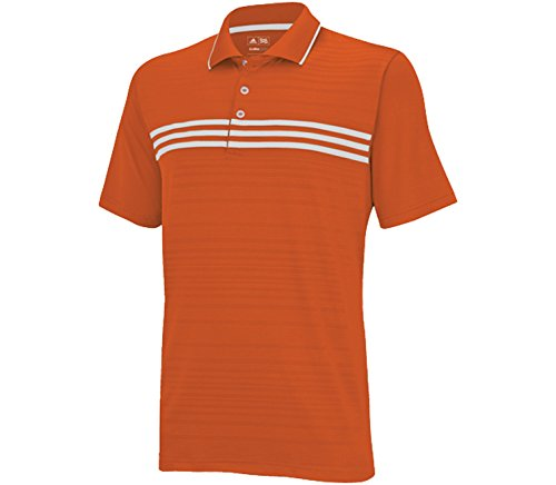 (adidas Men's puremotion climacool 3-Stripes Chest Polo - Orange/White - Medium)