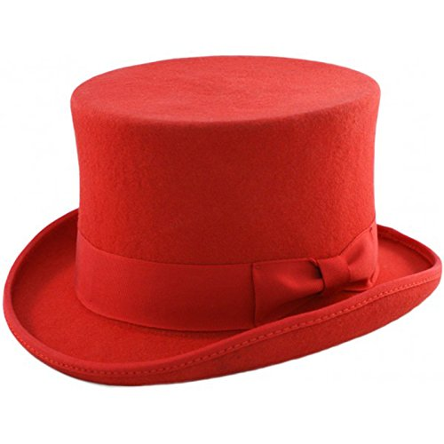 Major Wear Men's Official Top Hats in Sizes (XLarge - 61cm, Red)