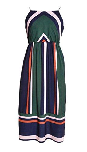 Maxi Summer Sleeveless Dress Jaycargogo Loose Chiffon Dress Striped 1 Women Long H50q8