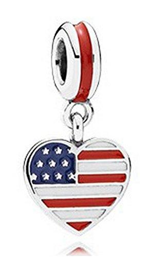 J&M Dangle U.S. Flag Heart Charm Bead for (Flag Dangle)