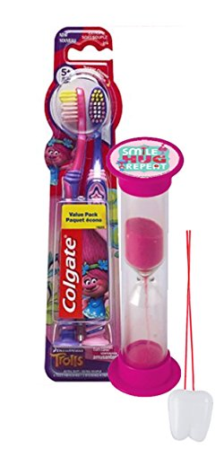 dreamworks-trolls-3pc-bright-smile-oral-hygiene-set-2pk-soft-manual-toothbrush-brusing-timer-plus-bo